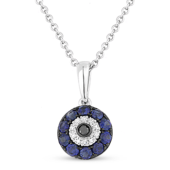 034ct sapphire diamond evil eye turkish nazar greek luck charm 034ct evil eye charm pendant w diamonds sapphire in 14k white black gold aloadofball Image collections