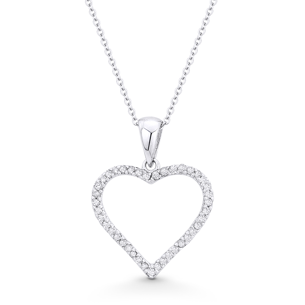 0.06 Total Carat Weight Round Brilliant Cut Two Hearts Necklace 14k White Gold