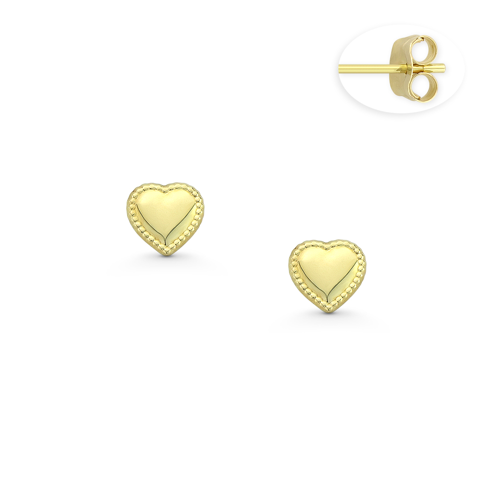 Love Knot Charm 4.5mm or 5.5mm Push-back Stud Earrings in 14k Yellow Gold 5mm