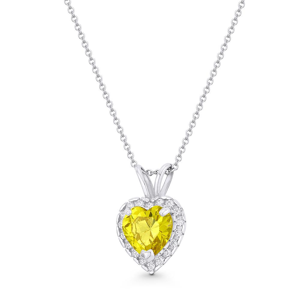 Heart Love Charm Faux Blue Topaz CZ Crystal Halo 14k Yellow Gold 12x8mm Pendant