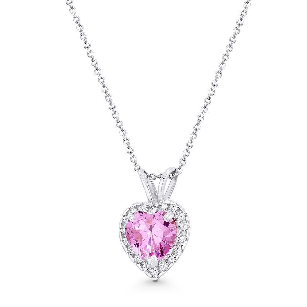Heart Love Charm Faux Amethyst Purple CZ Crystal 14k White Gold 13mmx9mm Pendant