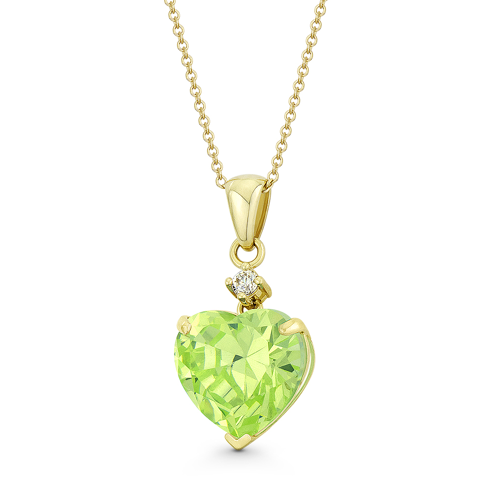 Heart-Shaped Faux Ruby Red /& Clear CZ Crystal 20x9mm Pendant in 14k Yellow Gold