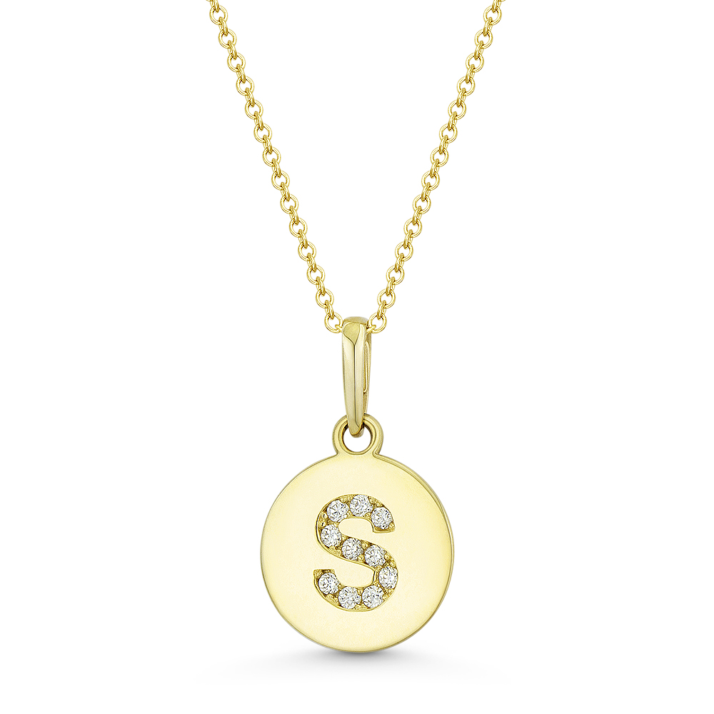 """Initial Letter /""""K/"""" CZ Crystal 14k Rose Gold 15mmx9mm Round Disc Necklace Pendant"""
