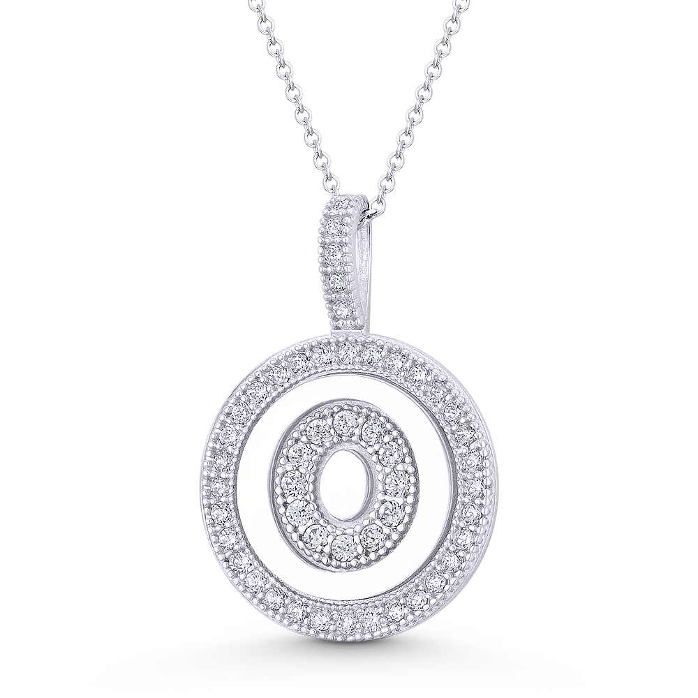 """Initial Letter /""""M/"""" CZ Crystal 14k Rose Gold 18x12mm Round Disc Necklace Pendant"""
