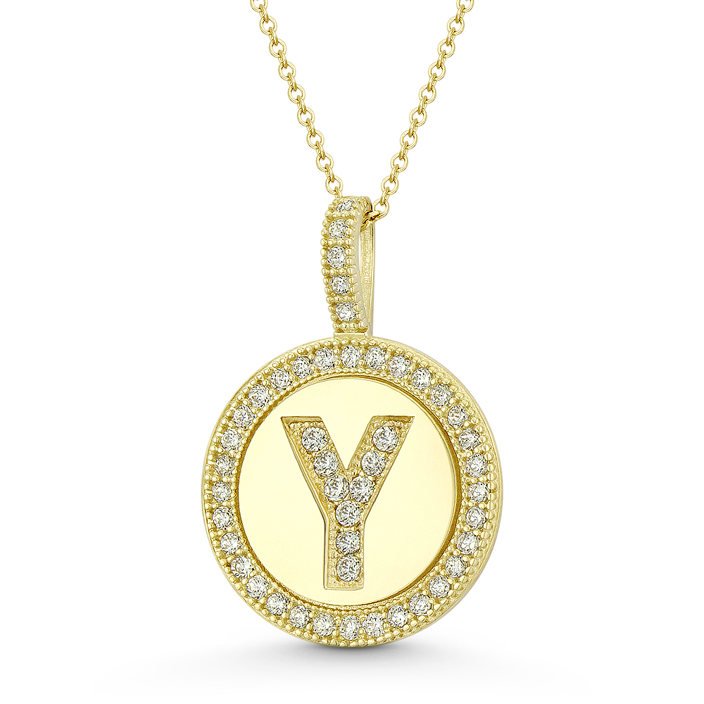 """Initial Letter /""""H/"""" CZ Crystal 14k White Gold 15x9mm Round Disc Necklace Pendant"""