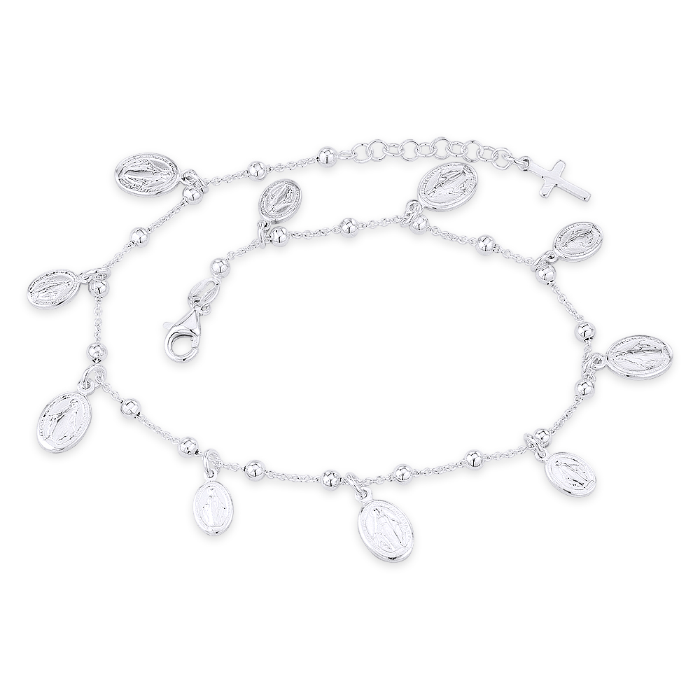 Cross /& Mary Charm Ankle Bracelet Anklet 9 w//1 Extender 925 Sterling Silver Polished Beads w//Dangle CZ