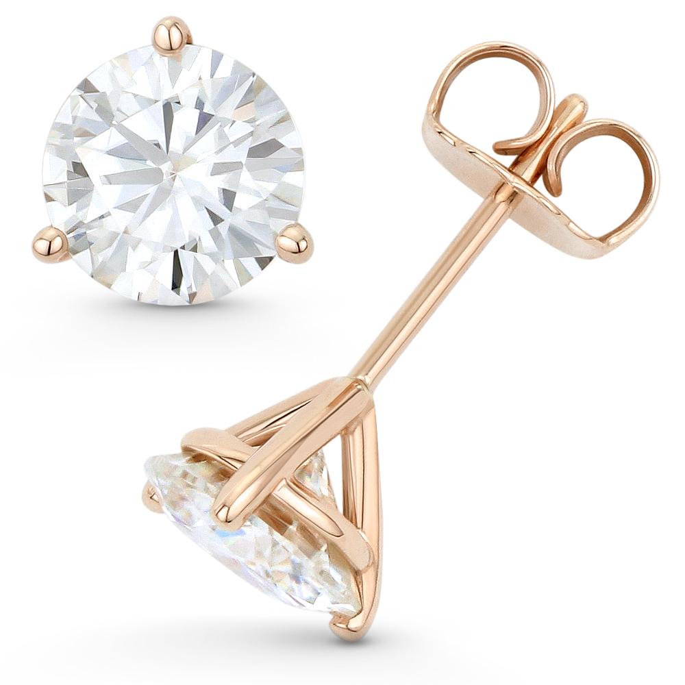 Round Cut Forever ONE DEF Moissanite 3Pr Pushback Stud Earrings in 14k Rose Gold
