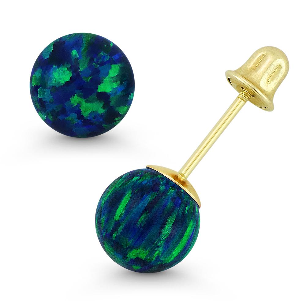 Fiery White Synthetic Opal Round Ball Screwback Stud Earrings in 14k Yellow Gold