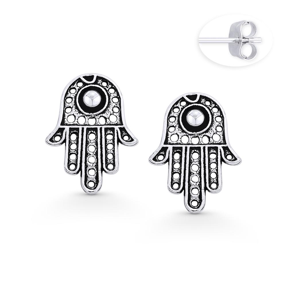 Hamsa Hand Evil Eye Luck Jewish Kabbalah Charm Stud Earrings 925 Sterling Silver