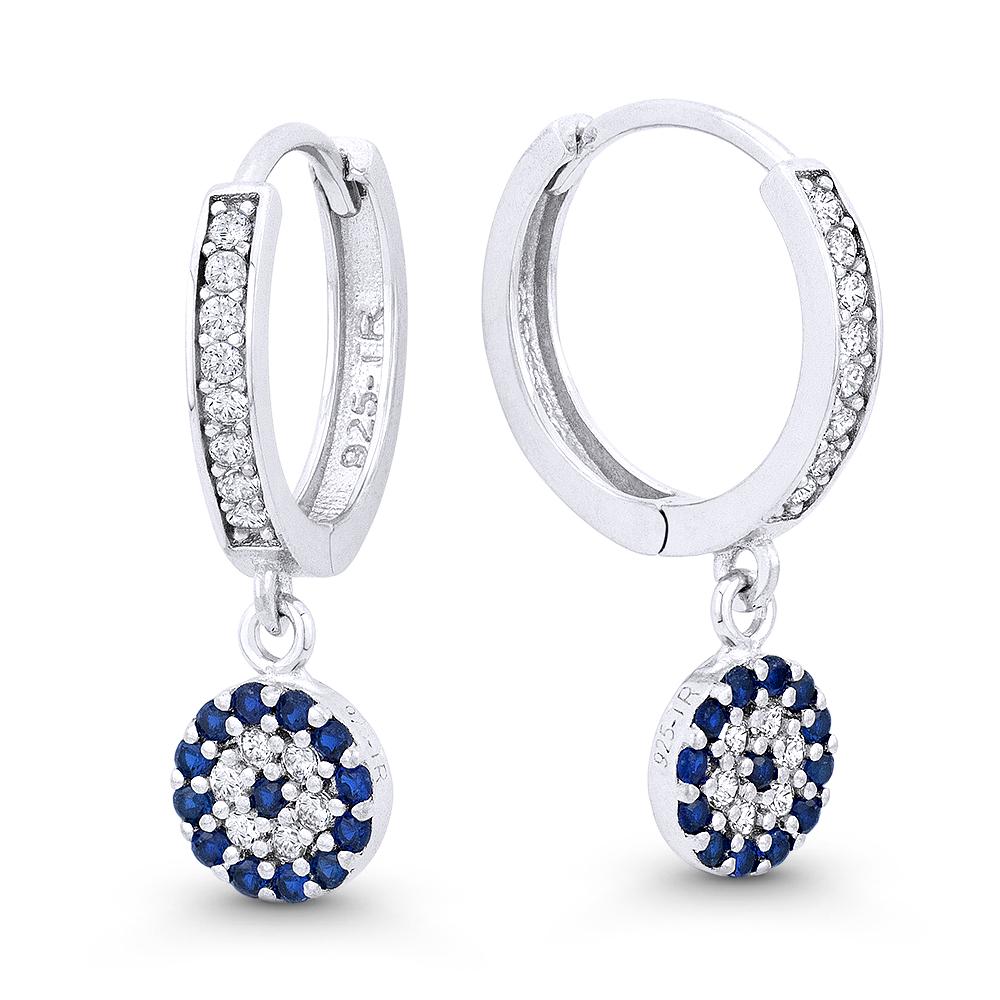 925 Sterling Silver Blue Evil Eye Greek Turkish Nazar Kabbalah Hoop Earrings