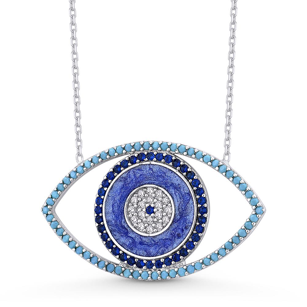 925 Sterling Silver Evil Eye Mati Nazar Blue Sapphire Cubic Zirconia CZ Anklet