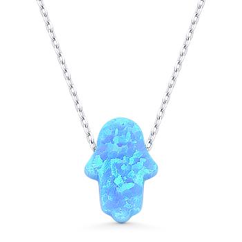 Hamsa Hand Lab Opal Luck Charm 14x10mm Pendant Amp Necklace