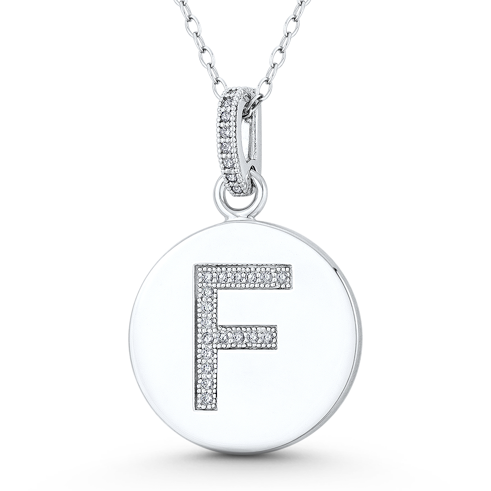 Snake or Ball Chain Necklace Sterling Silver Initial F Pendant on a Sterling Silver Cable