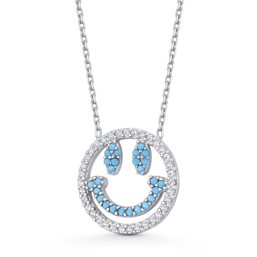 Smiley Face Emoji Happy Nano or CZ Crystal .925 Sterling Silver Necklace Pendant
