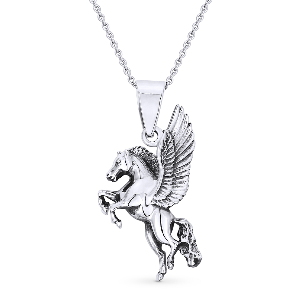 Horse /& Horseshoe Animal Luck Charm 925 Sterling Silver Pendant /& Chain Necklace