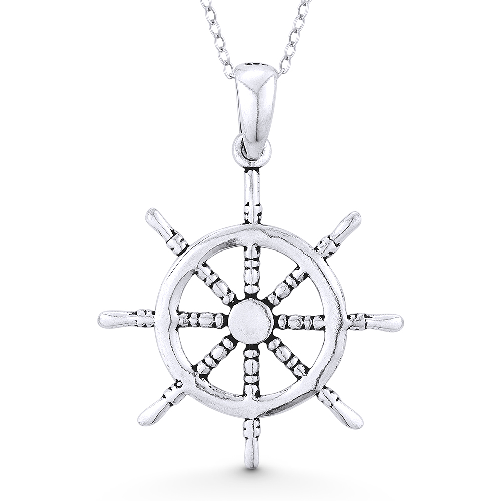 Bonyak Jewelry 18 Inch Rhodium Plated Necklace w// 6mm Blue September Birth Month Stone Beads and Anchor Crucifix Charm