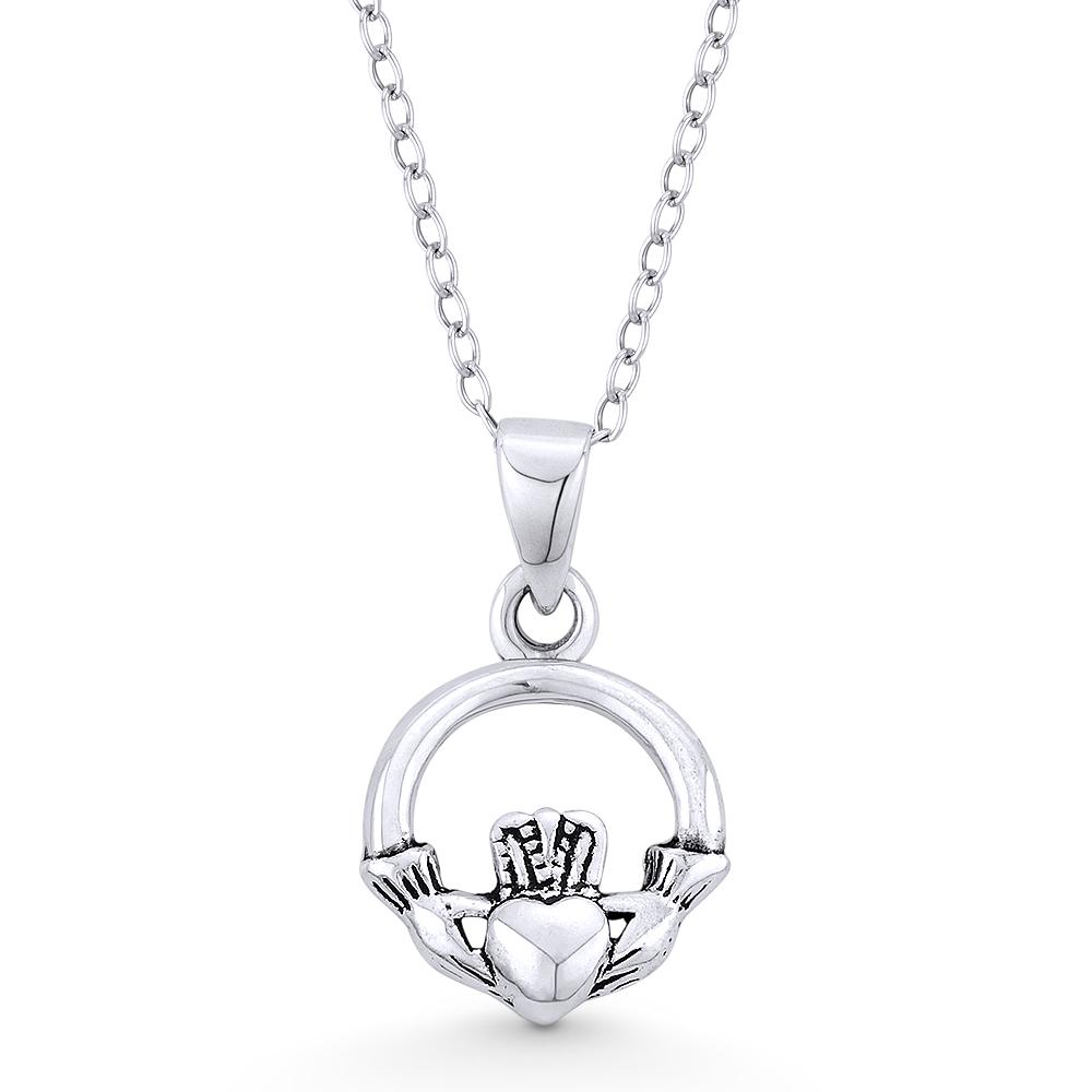 Claddagh Heart CZ Pendant Irish Celtic Claddagh Necklace 925 Sterling Silver